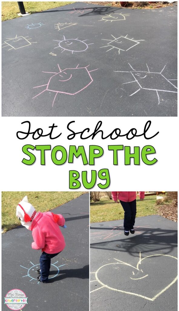 Learning is more fun when it involves movement! Practice stomping, running, jumping, and identifying shapes with this stomp the bug gross motor activity. Great for an insect theme in tot school, preschool, or even kindergarten!