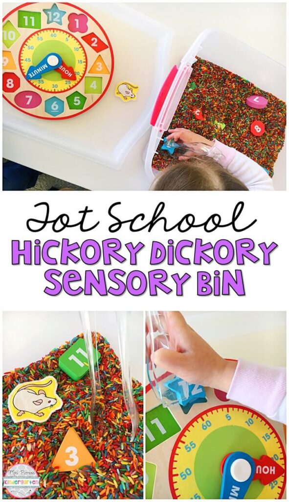 We LOVE this Hickory Dickory Dock sensory bin. Adding puzzles to sensory bins gives them new life and makes them so fun to explore! Great for a nursery rhyme theme in tot school, preschool, or even kindergarten!