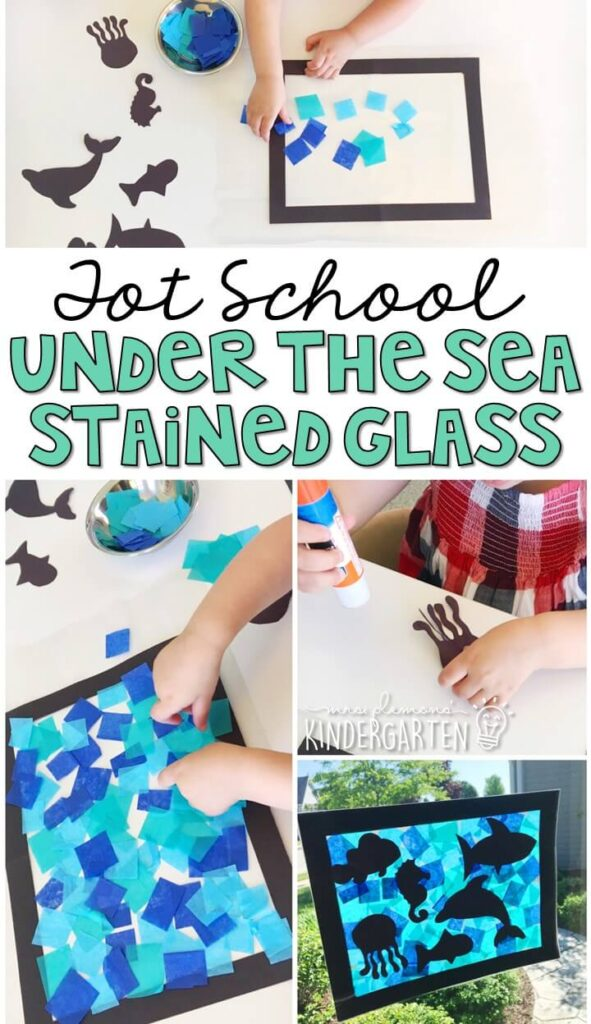 This under the sea stained glass activity turned out so cute and incorporated lots of fine motor practice. Great for an ocean theme in tot school, preschool, or even kindergarten!