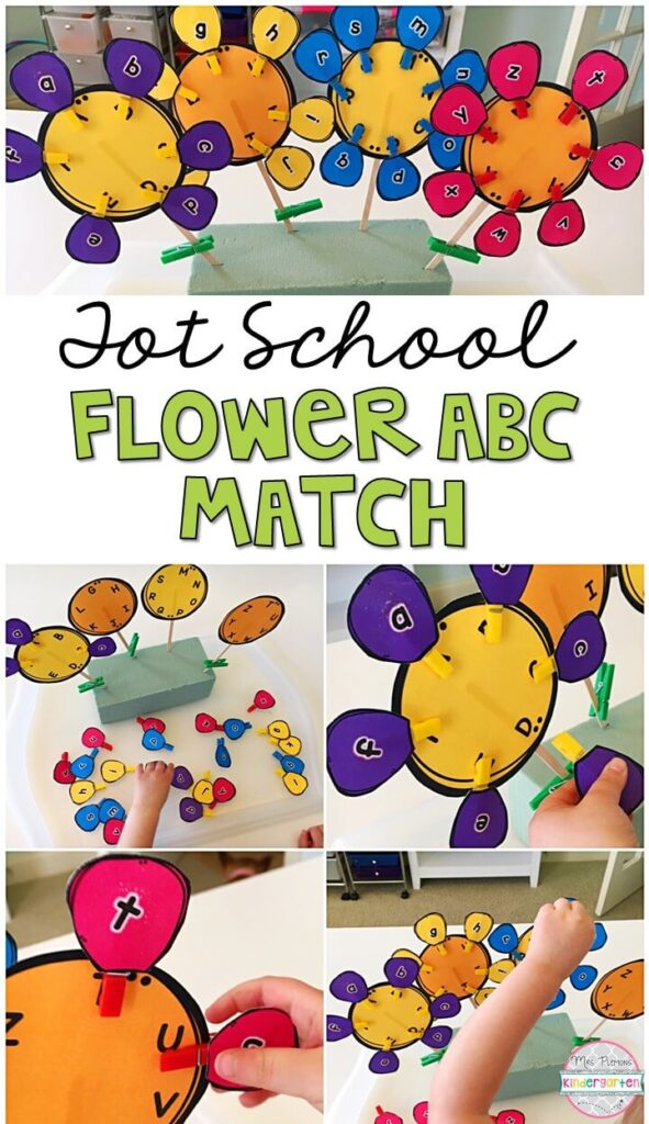 We LOVE practicing letter identification with flower abc matching activity. Perfect for fine motor practice with a plant theme. Great for tot school, preschool, or even kindergarten!