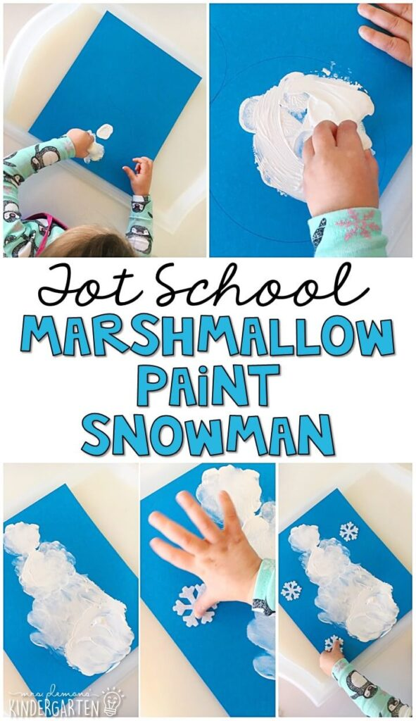 Painting snowmen with marshmallows was an easy and fun way to practice fine motor skills with our winter theme. Great for tot school, preschool, or even kindergarten!