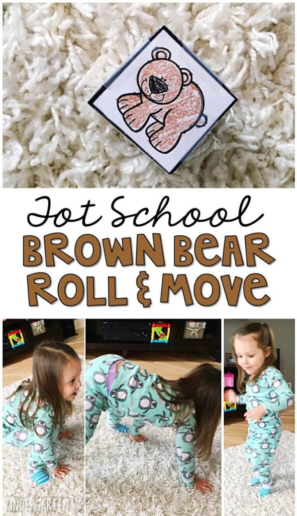 Learning is more fun when it involves movement! This Brown Bear roll and move gross motor activity was a fun way to get moving with our bear theme. Great for tot school, preschool, or even kindergarten!