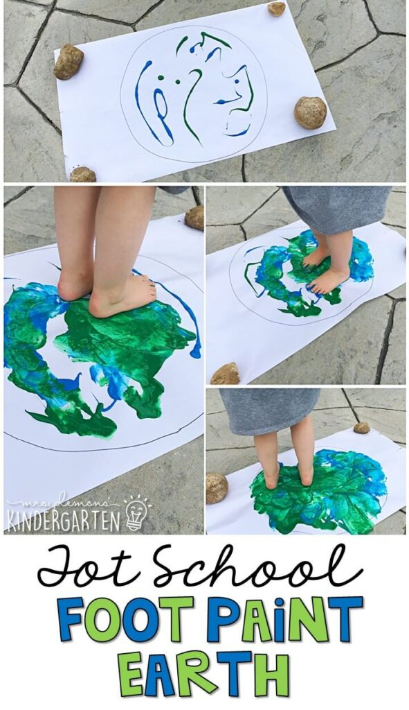 Learning is more fun when it involves movement! This foot paint Earth was a super fun and MESSY gross motor activity. Great for Earth Day in tot school, preschool, or even kindergarten!