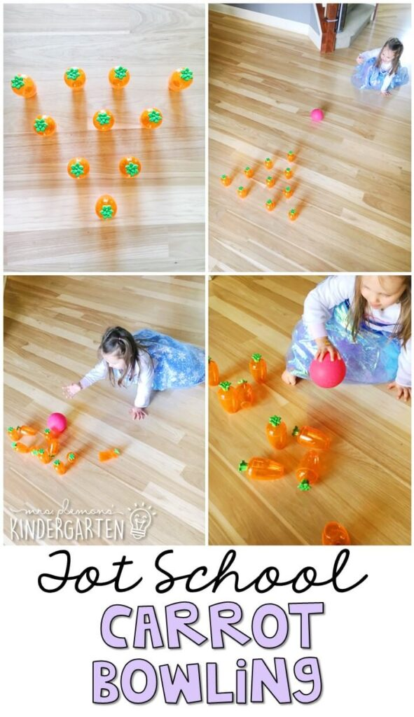 Learning is more fun when it involves movement! Carrot bowling was a fun gross motor activity and we incorporated counting and beginning addition skills too. Great for an Easter theme in tot school, preschool, or even kindergarten