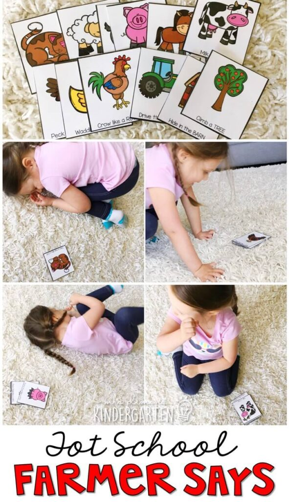 Learning is more fun when it involves movement! Practice all kinds of movement and listening skills with this farmer says gross motor activity. Great for a farm theme tot school, preschool, or even kindergarten!