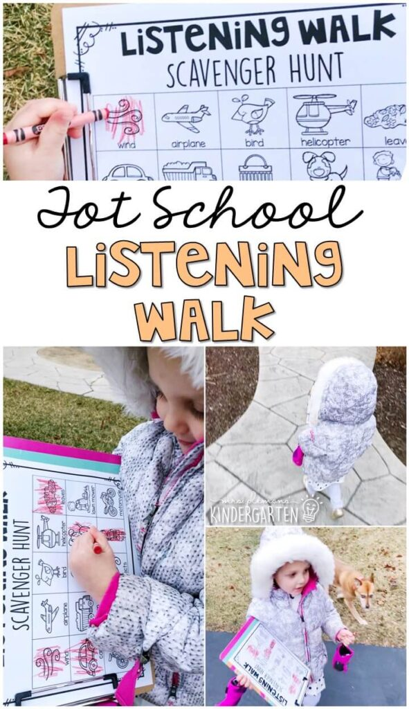 Learning is more fun when it involves movement! This listening walk activity was the perfect way to practice using our sense of sound. Great for a five senses theme in tot school, preschool, or even kindergarten!