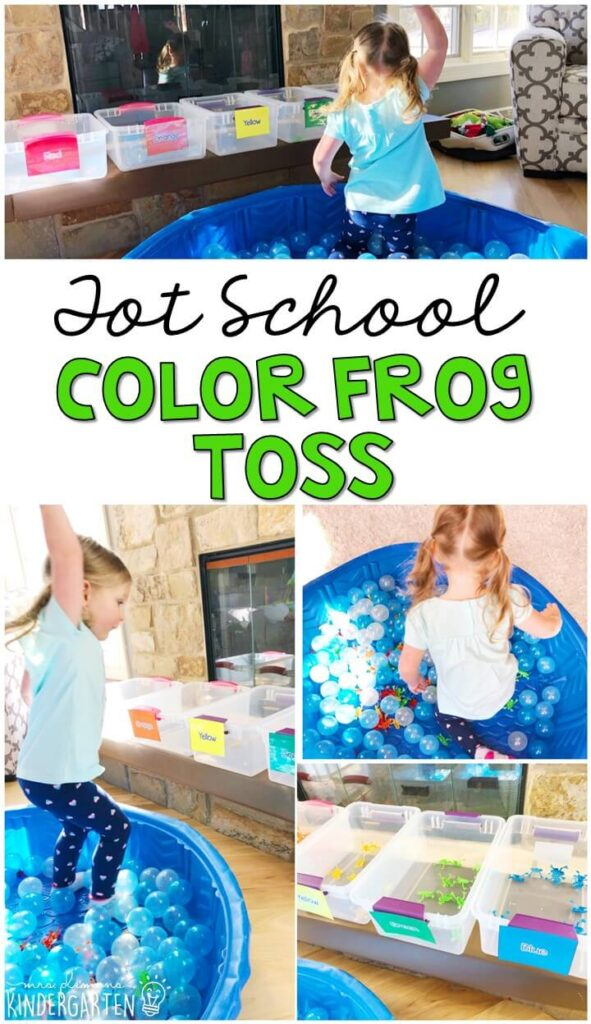 Learning is more fun when it involves movement! This color frog toss was a really fun and engaging gross motor activity. Great for a frog theme in tot school, preschool, or even kindergarten!