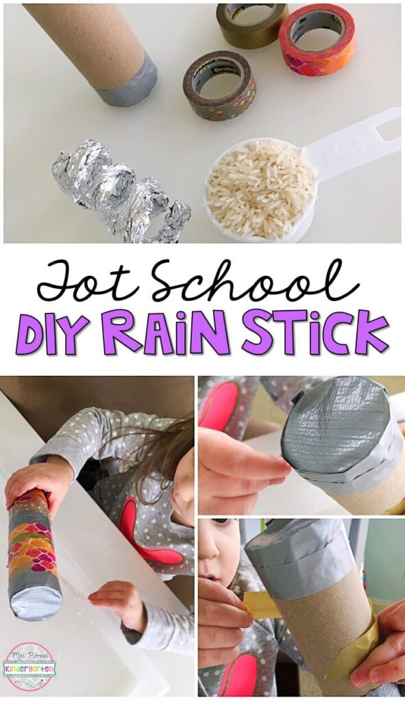 After reading It's Raining, It's Pouring, we made our own rain sticks to work on fine motor skills and make some music. Great for a nursery rhyme theme in tot school, preschool, or even kindergarten!