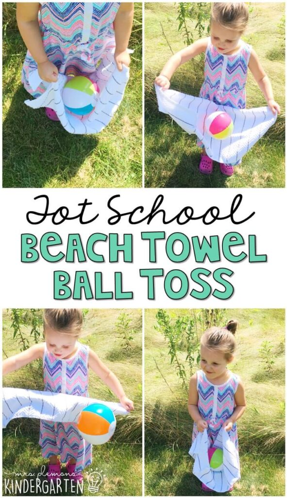 Learning is more fun when it involves movement! Practice throwing and catching with this beach ball toss gross motor activity. Great for an ocean theme tot school, preschool, or even kindergarten!