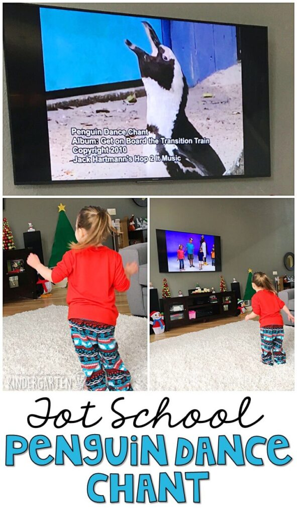 Learning is more fun when it involves movement! The penguin dance chant from Jack Hartmann is one of our favorite movement songs, and it went perfectly with penguin theme. Great winter gross motor activity for tot school, preschool, or even kindergarten!