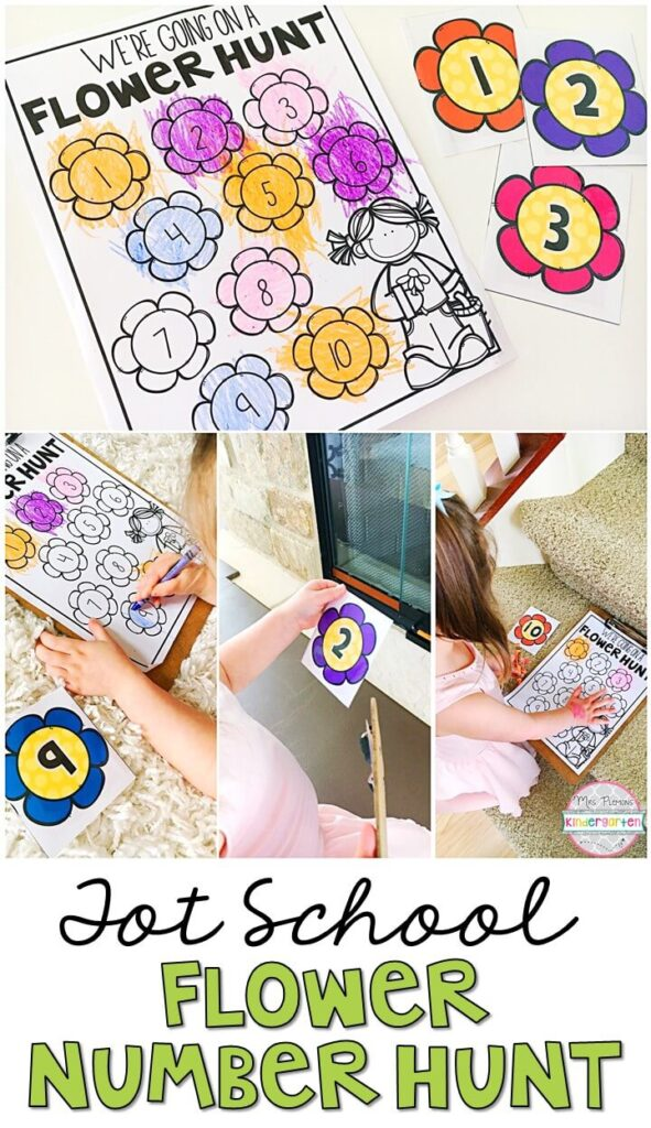 We love our scavenger hunts to get moving and work on identifying letters and numbers. This flower number hunt was the perfect gross motor activity for our plant theme. Great for tot school, preschool, or even kindergarten!