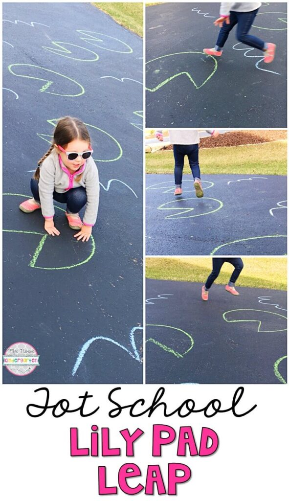 Learning is more fun when it involves movement! Practice stomping, jumping, and hopping with this lily pad leap gross motor activity. Great for a spring theme in tot school, preschool, or even kindergarten!