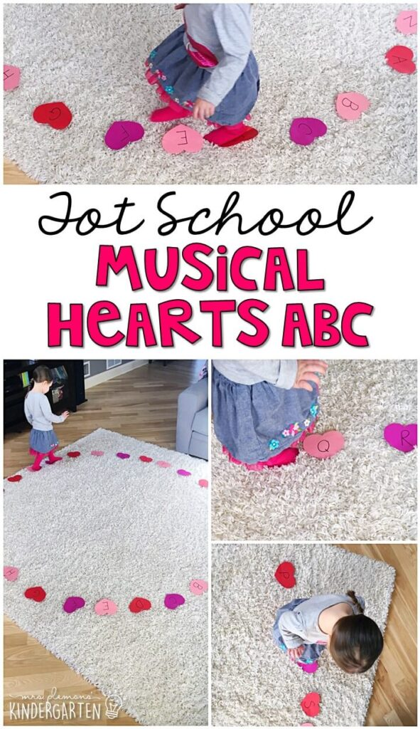 Learning is more fun when it involves movement! Our ABC Musical Hearts gross motor activity was a fun way to practice letters and gross motor skills all at the same time. Great for a valentine's theme in tot school, preschool, or even kindergarten!