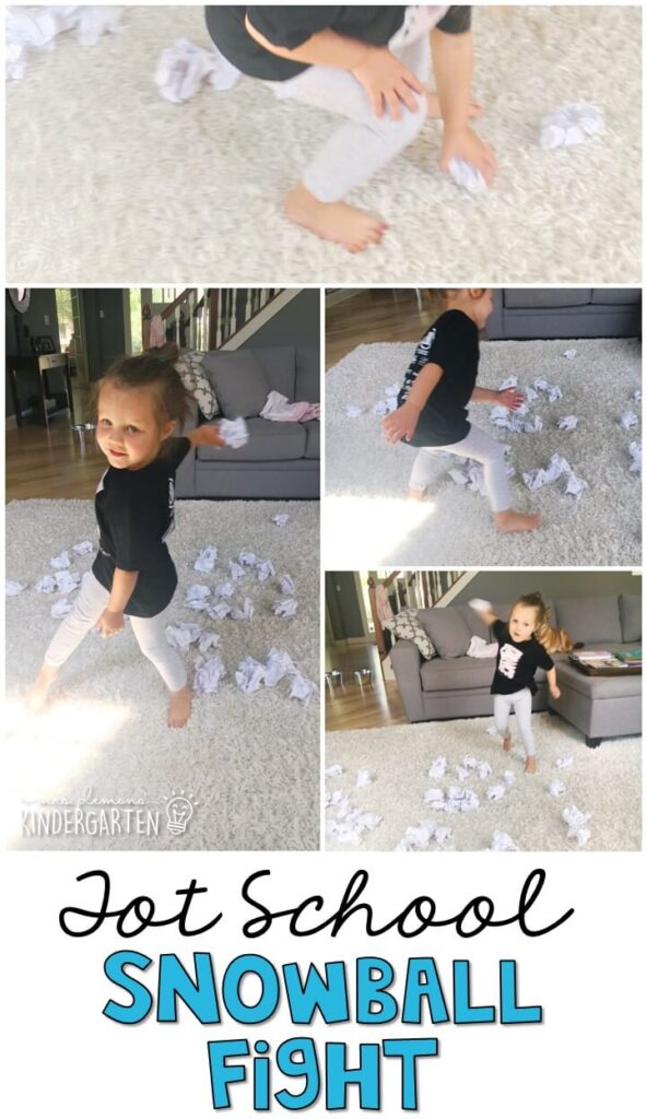 We had a blast with our indoor snowball fight gross motor activity and it was so easy to prep and clean up. Great for a winter theme in tot school, preschool, or even kindergarten!