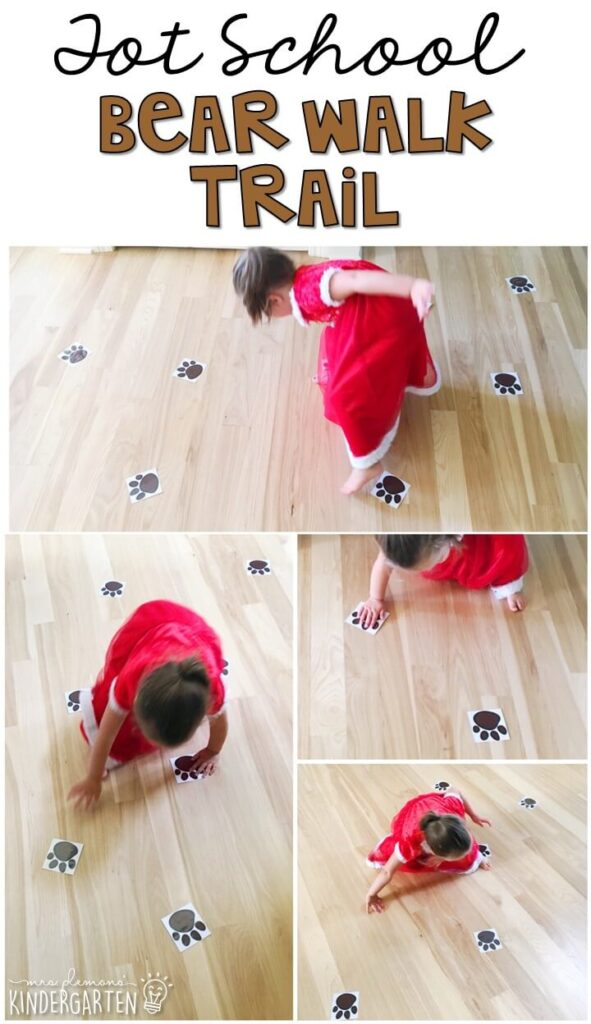 Learning is more fun when it involves movement! This bear walk trail was an easy and fun gross motor activity for our bear theme. Great for tot school, preschool, or even kindergarten!