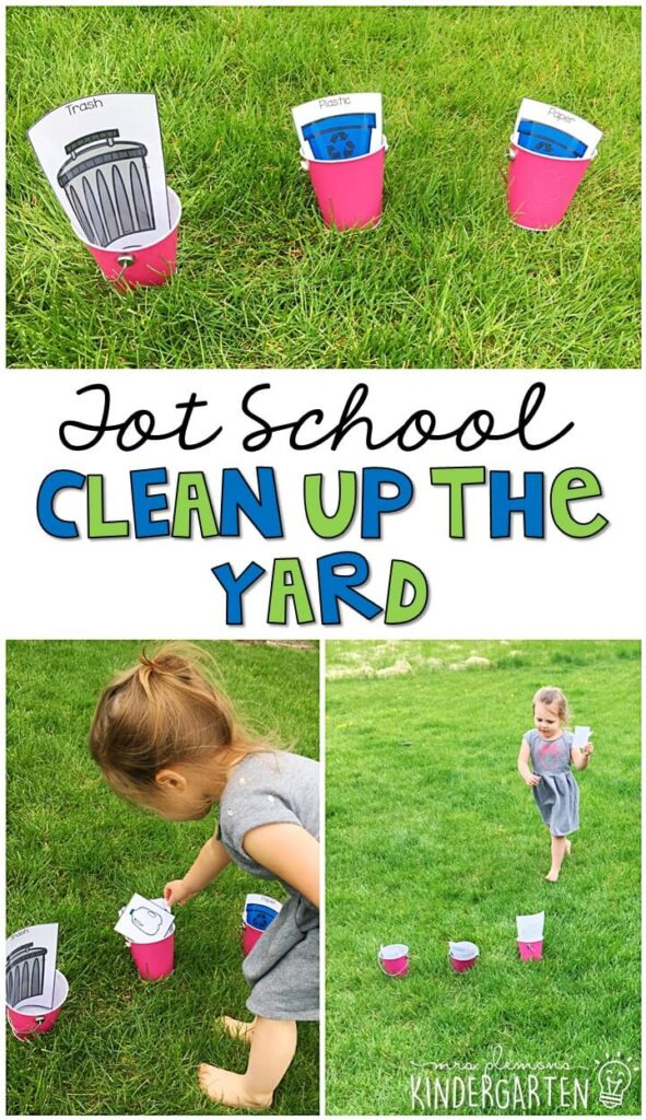 Learning is more fun when it involves movement! This clean up the yard activity was an easy and fun gross motor sorting activity for our Earth Day theme. Great for tot school, preschool, or even kindergarten!