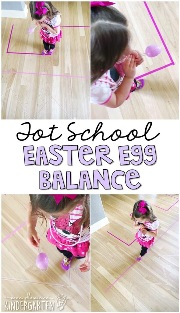Learning is more fun when it involves movement! This Easter egg balance activity was an easy and fun gross motor activity for our Easter theme. Great for tot school, preschool, or even kindergarten!