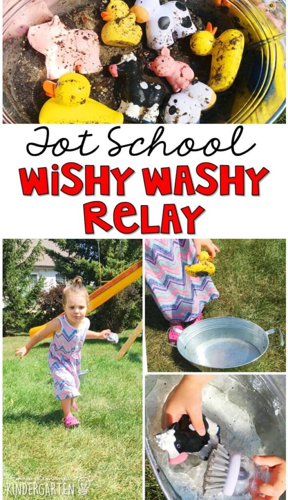 Learning is more fun when it involves movement! Practice running and washing animals with this wishy washy gross motor activity. Great for a farm theme in tot school, preschool, or even kindergarten!