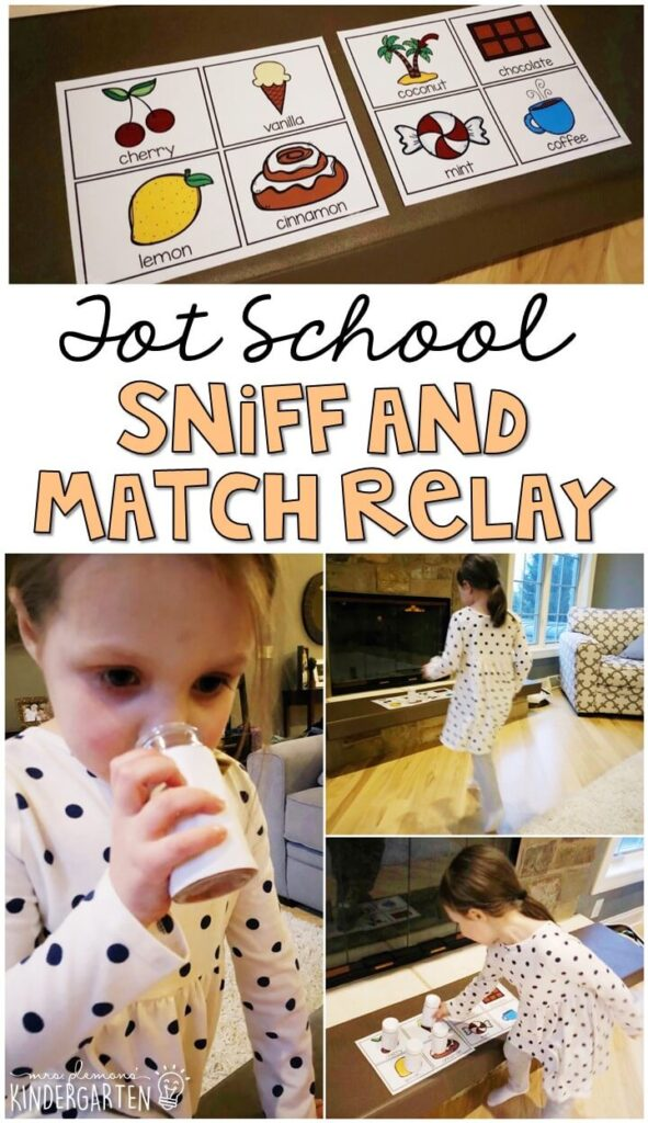 Learning is more fun when it involves movement! This sniff and match relay is the perfect way to practice using our sense of smell. Great for a five senses theme in tot school, preschool, or even kindergarten!