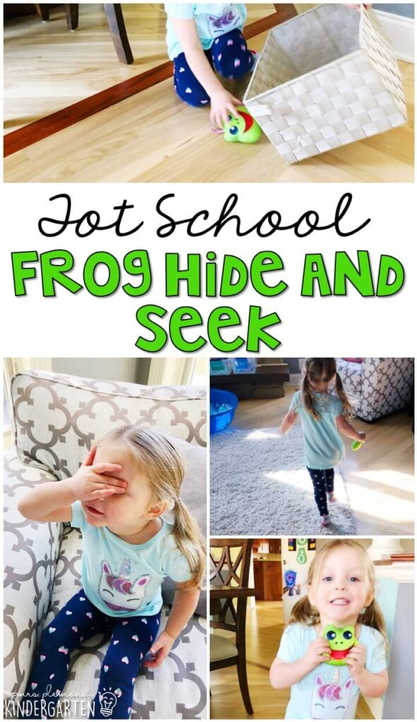 Learning is more fun when it involves movement! This frog hide and seek gross motor activity got us up and moving all around the house. Great for a frog theme in tot school, preschool, or even kindergarten!
