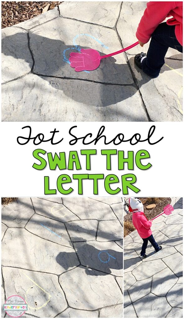 Learning is more fun when it involves movement! Practice running, swinging, and identifying letters with this swat the letter gross motor activity. Great for an insect theme in tot school, preschool, or even kindergarten!