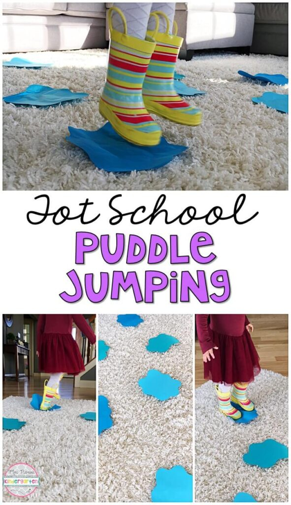 "Learning is more fun when it involves movement! We didn't have any real puddles so we made our own fun with indoor puddle jumping for our ""It's Raining, It's Pouring"" theme. Great for a nursery rhyme theme in tot school, preschool, or even kindergarten!"