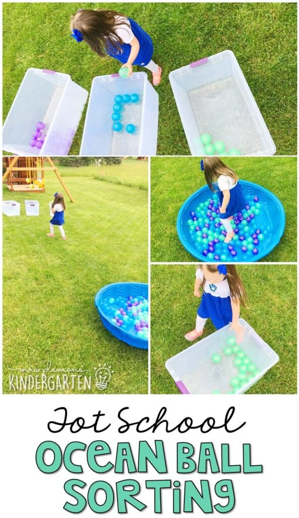 Learning is more fun when it involves movement! Practice running and sorting by color with this ocean ball sorting gross motor activity. Great for an ocean theme in tot school, preschool, or even kindergarten!