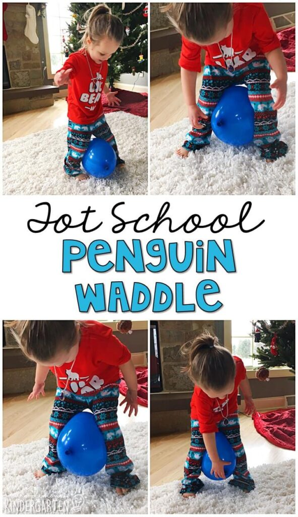 Learning is more fun when it involves movement! This penguin waddle was a fun gross motor activity for our penguin theme. Great for winter in tot school, preschool, or even kindergarten!
