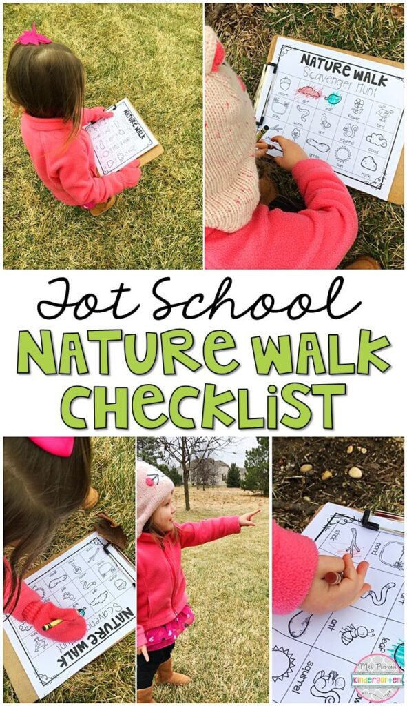 Learning is more fun when it involves movement! This nature walk checklist was a nice way to get outside for our plant theme. Great for tot school, preschool, or even kindergarten!
