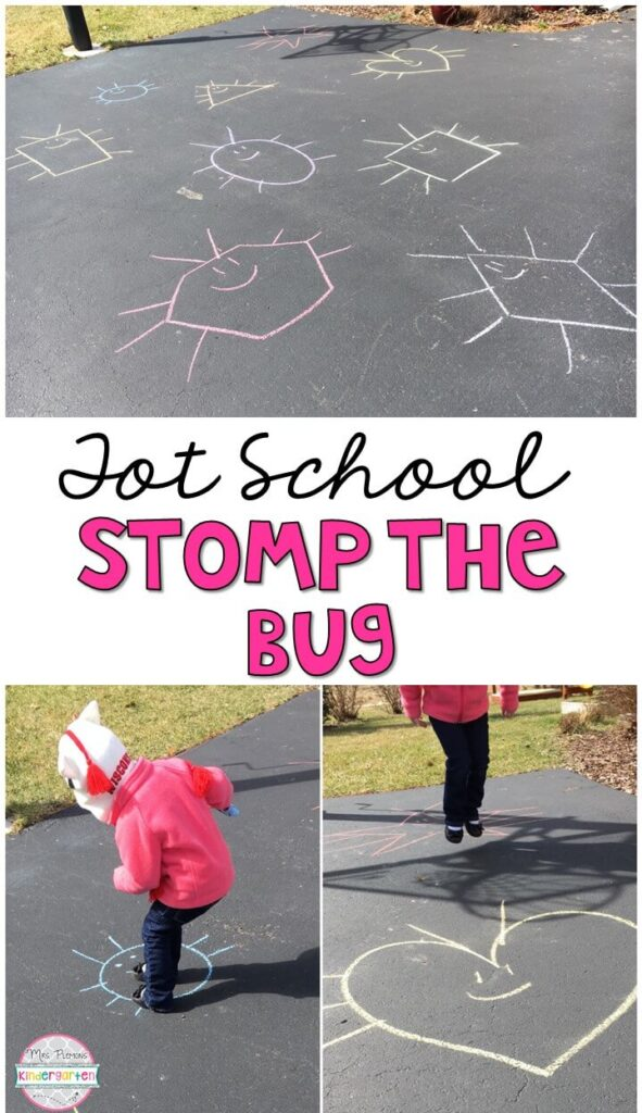 Learning is more fun when it involves movement! Practice stomping, running, jumping, and identifying shapes with this stomp the bug gross motor activity. Great for a spring theme in tot school, preschool, or even kindergarten!
