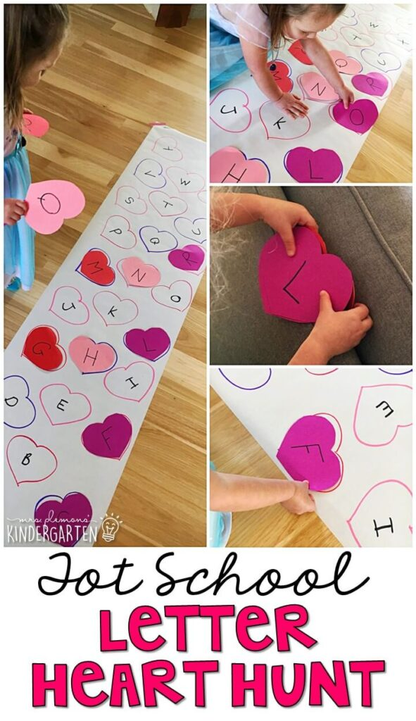 Learning is more fun when it involves movement! This heart scavenger hunt was the perfect way to get moving while working on letter identification. Great for a valentine's theme in tot school, preschool, or even kindergarten!