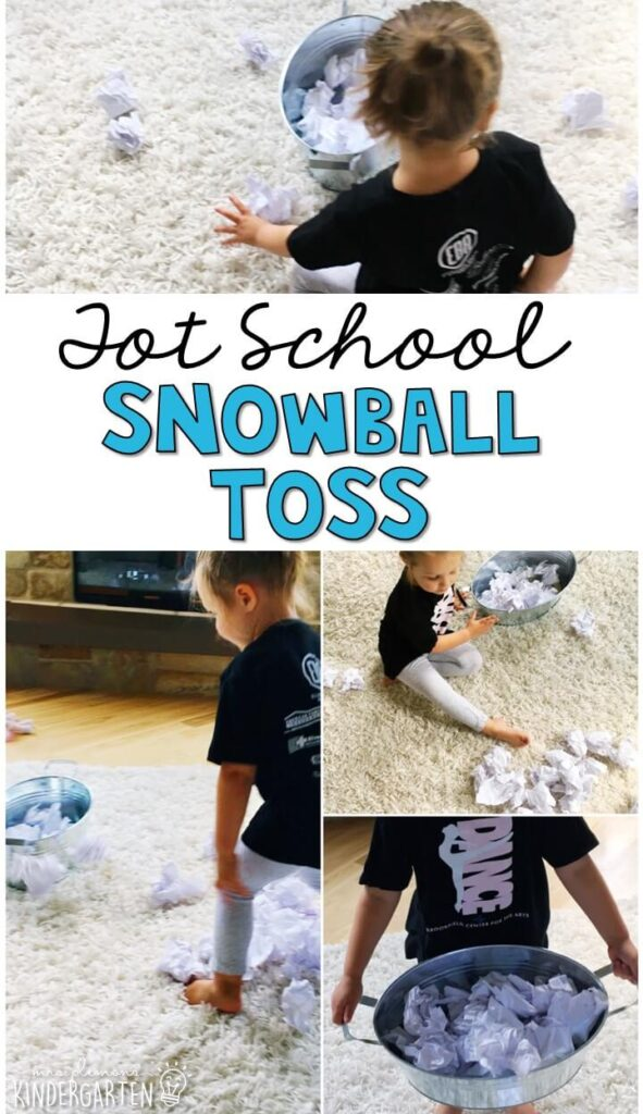 We had a blast with our snowball toss gross motor activity and it was so easy to prep and clean up. Great for a winter theme in tot school, preschool, or even kindergarten!