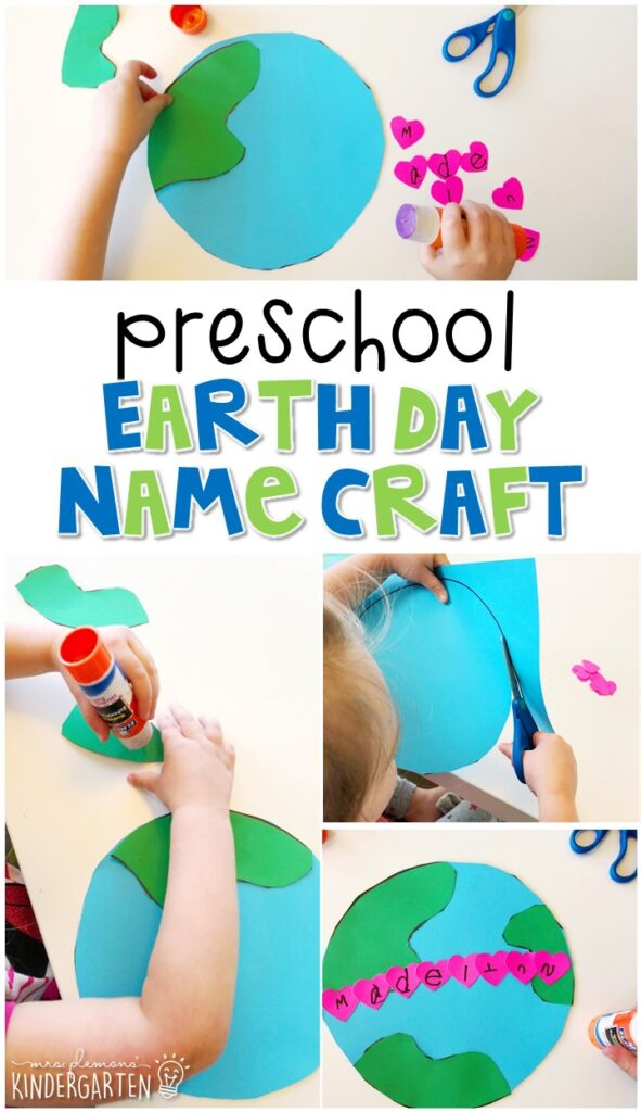 This Earth Day name craftivity is fun for name writing, recognition, and fine motor practice. Great for spring in tot school, preschool, or even kindergarten!
