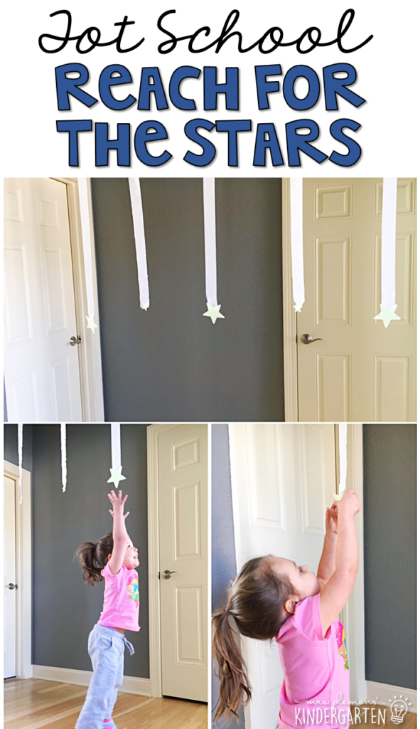 Learning is more fun when it involves movement! Practice jumping and grabbing stars in this space themed gross motor activity. Great for tot school, preschool, or even kindergarten!