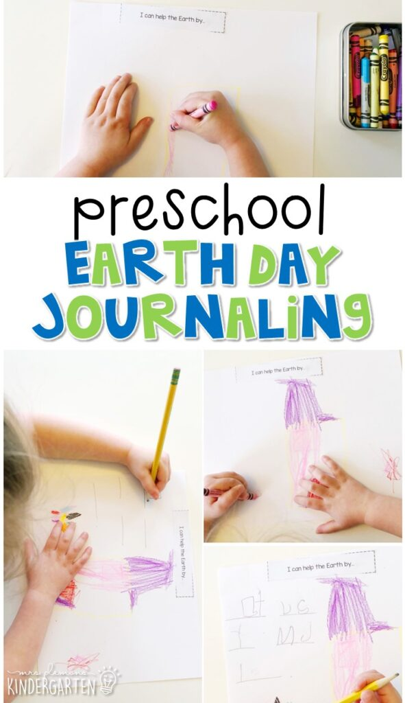 This Earth Day journal writing activity is a great way to show learning, practice fine motor skills and learn about writing. Great for tot school, preschool, or even kindergarten!