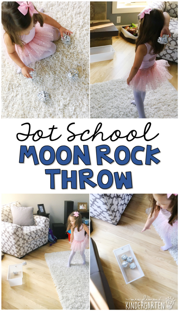 Learning is more fun when it involves movement! Practice throwing and aiming for a target with this moon rock throwing activity. Great for a space theme in tot school, preschool, or even kindergarten!