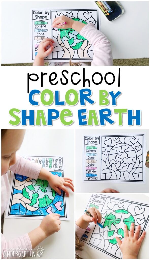 This color by shape Earth activity is fun for geometry and fine motor practice with an Earth Day theme. Great for spring in tot school, preschool, or even kindergarten!