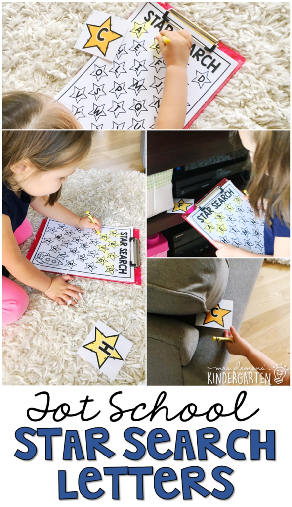 Learning is more fun when it involves movement! Practice all kinds of movement and letter identification with this star search gross motor activity. Great for a space theme in tot school, preschool, or even kindergarten!