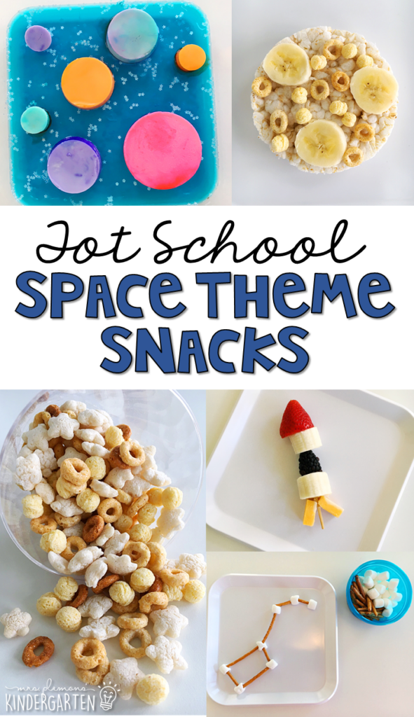 These yummy snacks are perfect for a space theme in tot school, preschool, or kindergarten!