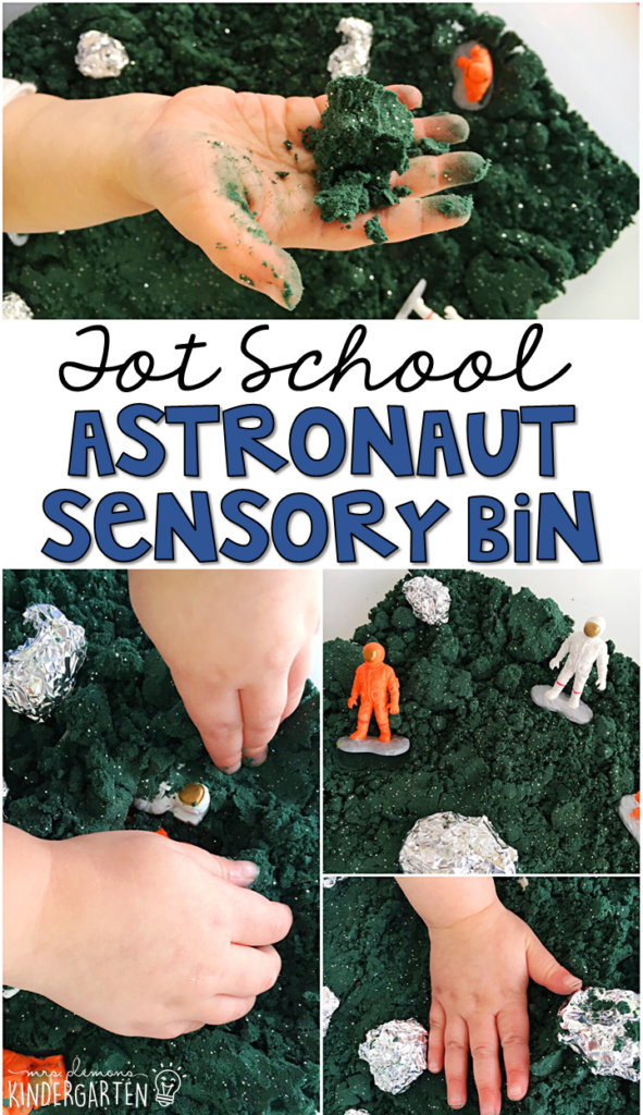 We LOVE this astronaut sensory bin. The colored glitter baking soda dough is so fun to explore! Great fora space theme in tot school, preschool, or even kindergarten!