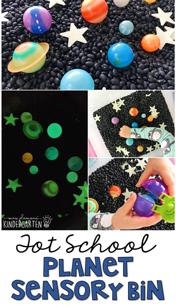 We LOVE exploring this planet sensory bin. Great for a space theme in tot school, preschool, or even kindergarten!
