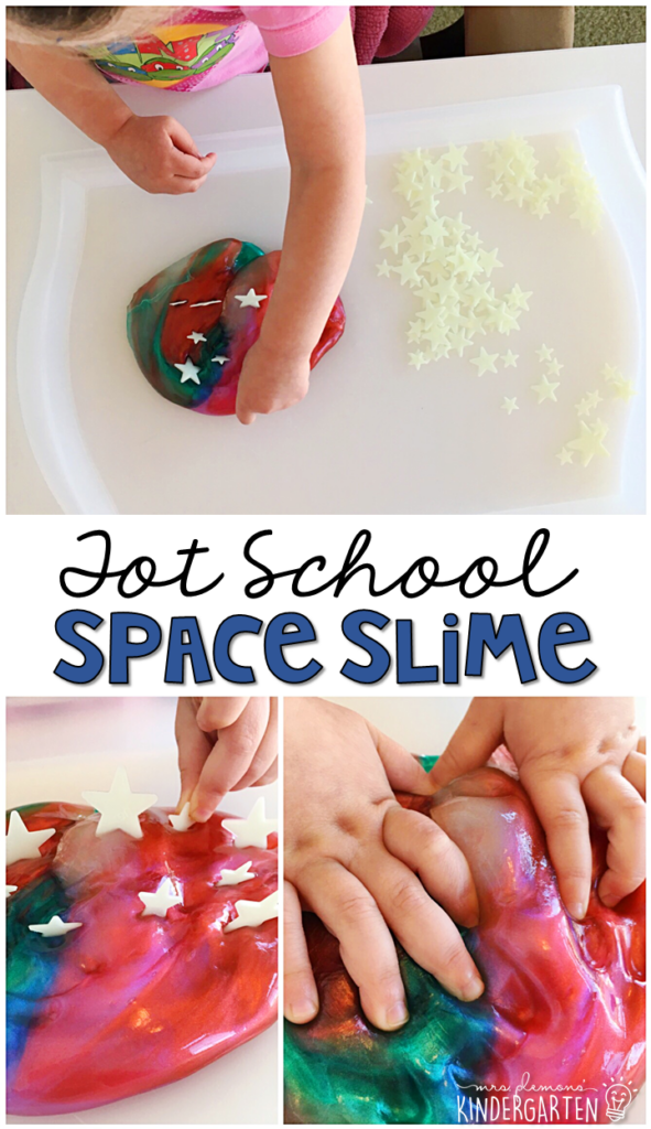 This space slime is super fun to explore. Great for a space theme in tot school, preschool, or even kindergarten!