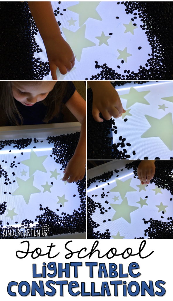 We had so much fun exploring constellations with the light table. Great for a space theme in tot school, preschool, or even kindergarten!