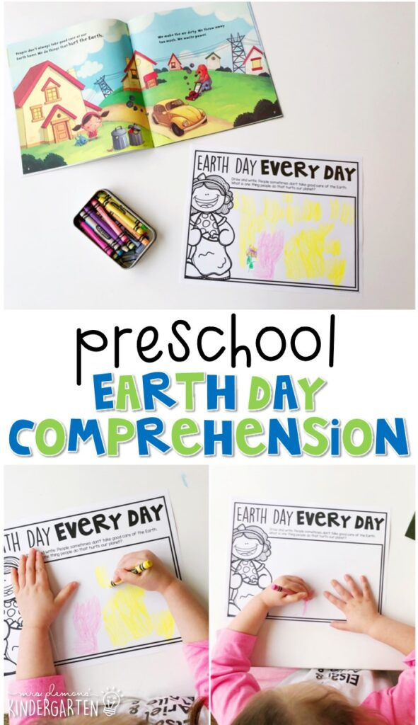 """Practice reading comprehension with """"Earth Day Every Day!"""" by Lisa Bullard. Great for an Earth Day theme in tot school, preschool, or even kindergarten!"""