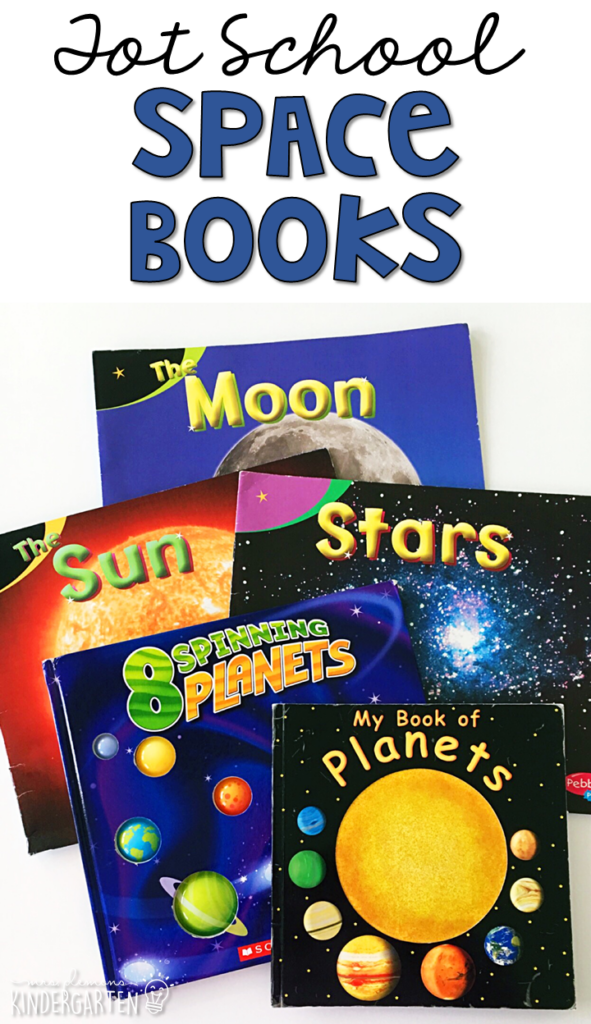 5 great books to read aloud for a space theme. Perfect for tot school, preschool, or even kindergarten.