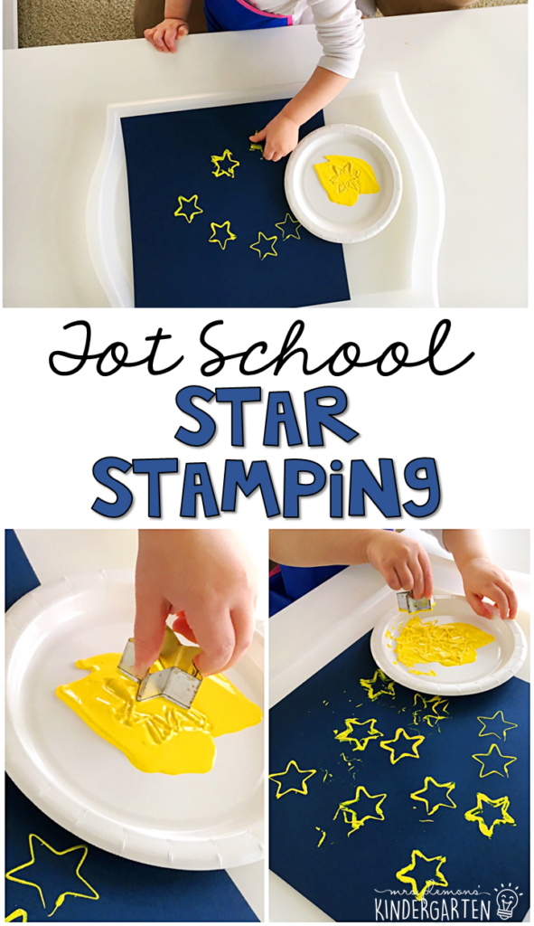 This star stamping activity was simple and turned out so pretty. Great for fine motor practice with a space theme in tot school, preschool, or even kindergarten!