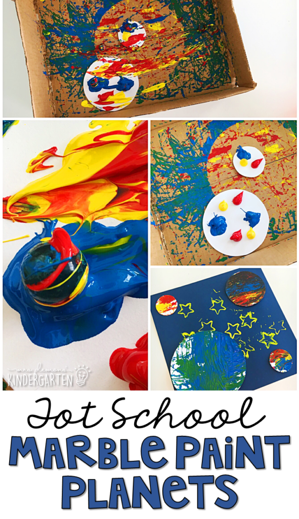 We had so much fun making these marble paint planets for our space theme. Great for fine motor practice in tot school, preschool, or even kindergarten!