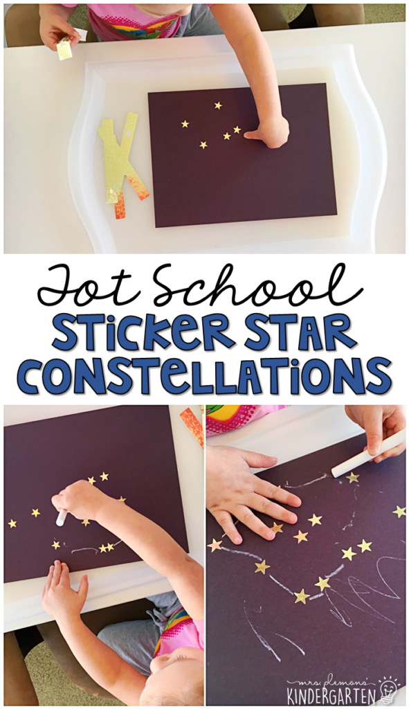 These sticker star constellations turned out so cute and incorporated lots of fine motor practice. Great for a space theme in tot school, preschool, or even kindergarten!