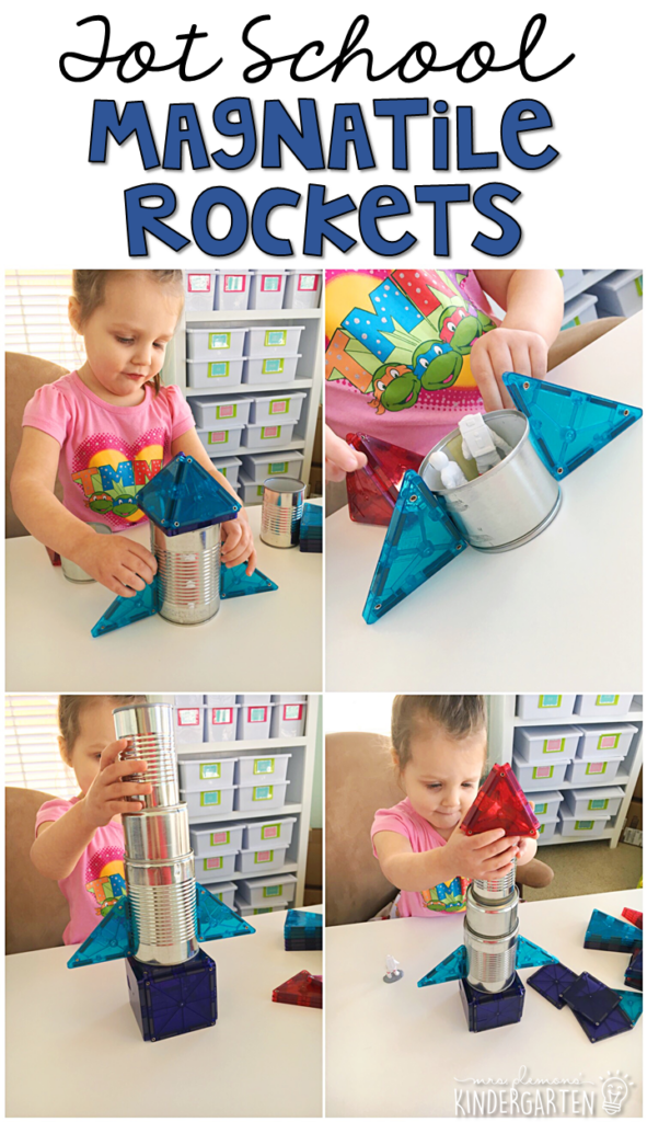 Making magnatile rockets was an easy and fun way to practice fine motor skills with our space theme. Great for tot school, preschool, or even kindergarten!