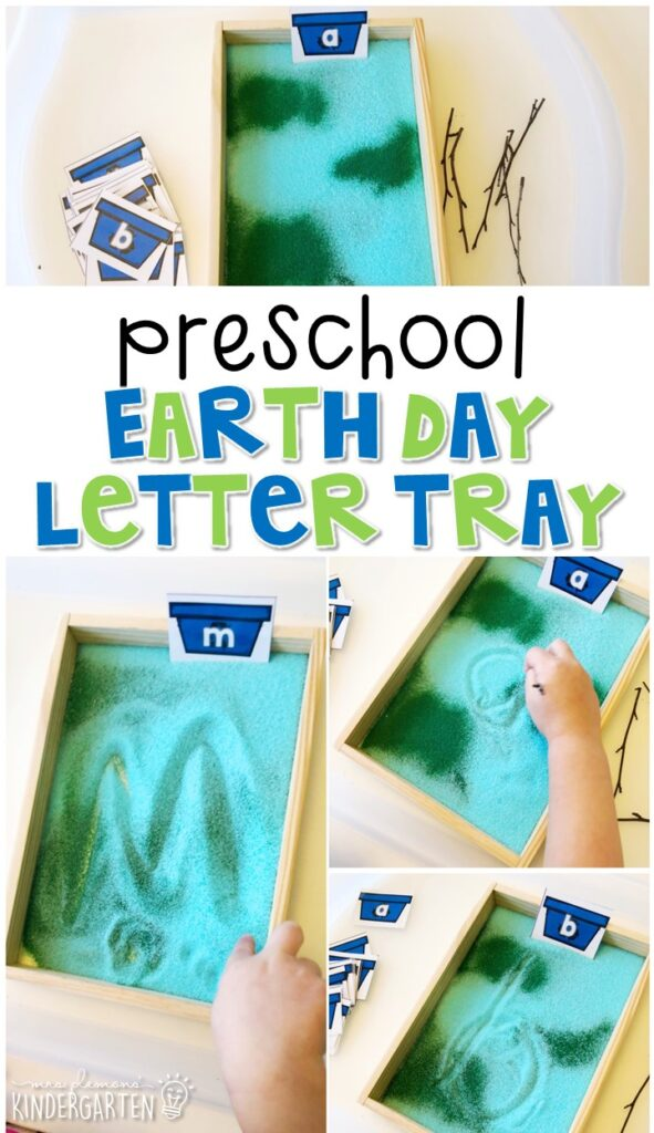 This earth themed sand tray is fun for letter writing and fine motor practice with an Earth Day theme. Great for spring in tot school, preschool, or even kindergarten!